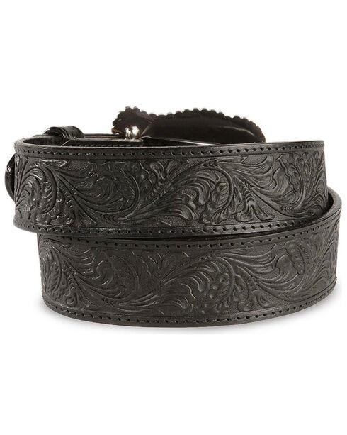 Tony Lama Floral Embossed Leather Belt, Black, hi-res