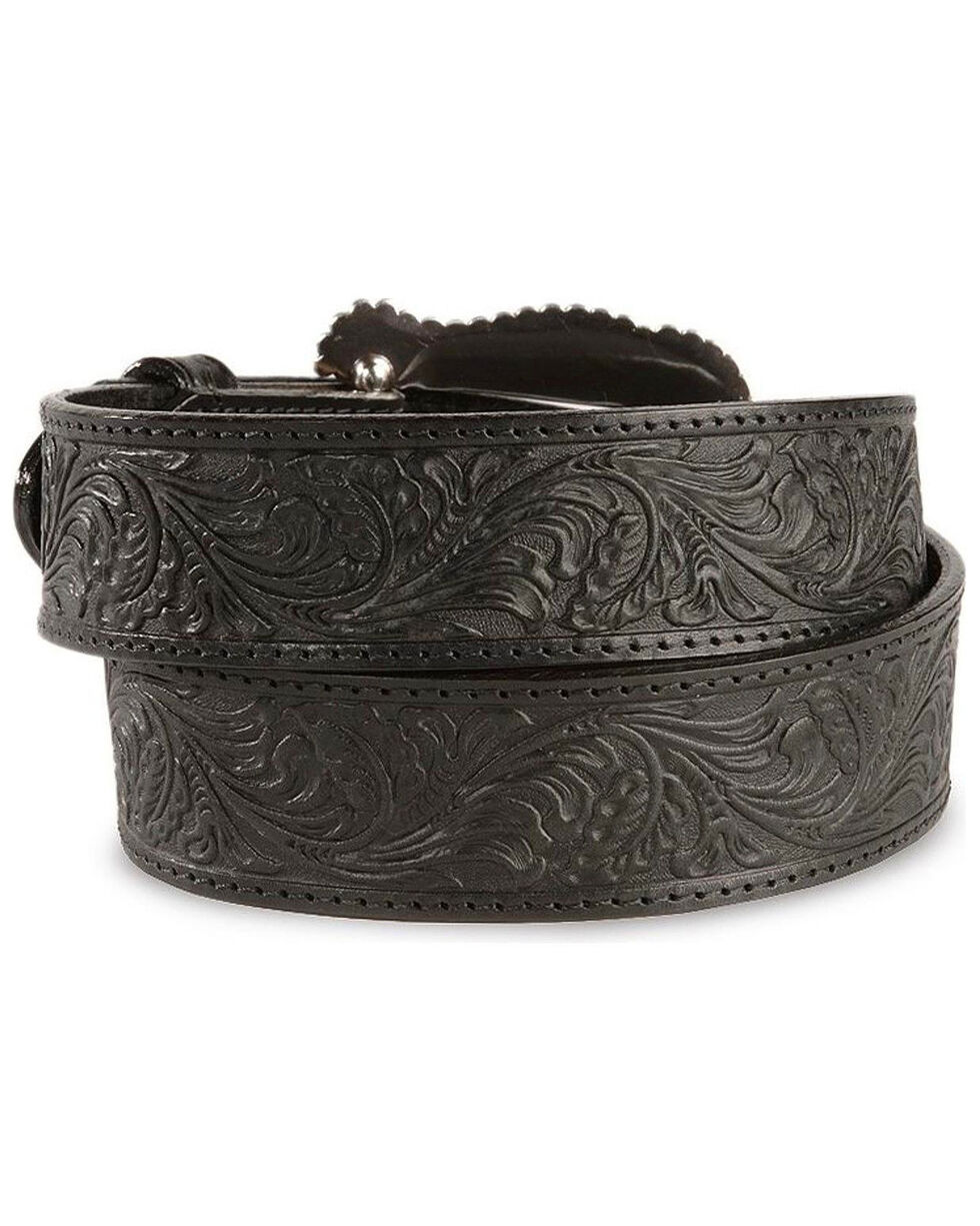 Tony Lama Floral Embossed Leather Belt, Black, hi-res