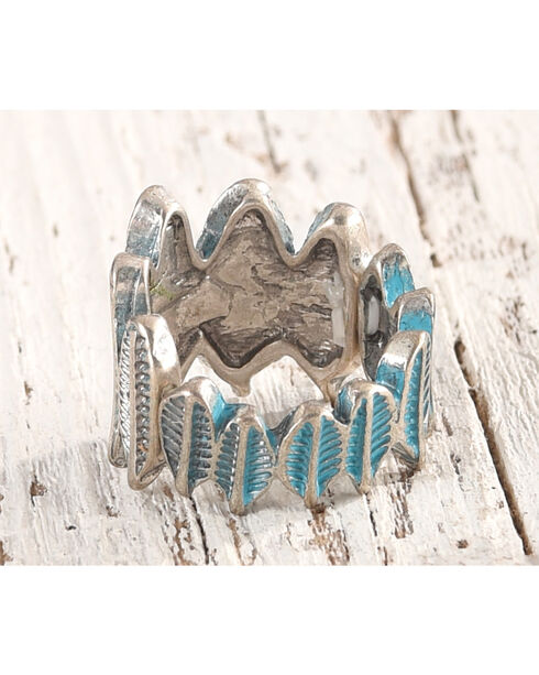 Shyanne Women's Turquoise Feather Stretch Ring, Turquoise, hi-res