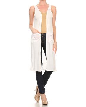 Freeway Apparel Women's Open Front Sleeveless Sweater, White, hi-res