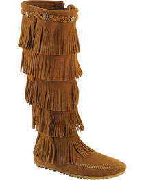 Minnetonka Fringed Suede Leather Boots, , hi-res
