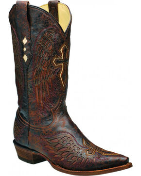 Corral Men's Distressed Wing and Cross Western Boots, Brown, hi-res