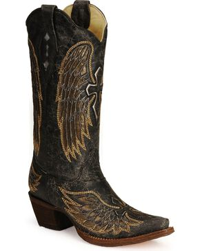 Corral Women's Gold Wings and Cross Western Boots, Black, hi-res