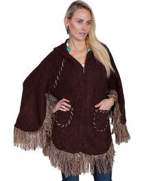 Scully Honey Creek Hooded Zip Front Poncho, Brown, hi-res