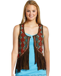 Rock & Roll Cowgirl Women's Chocolate Embroidered Fringe Vest , , hi-res
