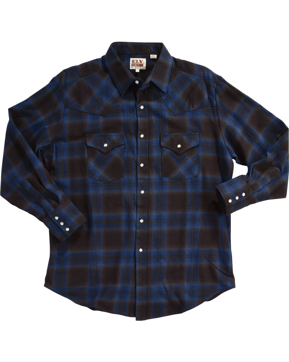 Ely Cattleman Men's Blue Brawny Flannel Long Sleeve Snap Shirt - Tall, Navy, hi-res