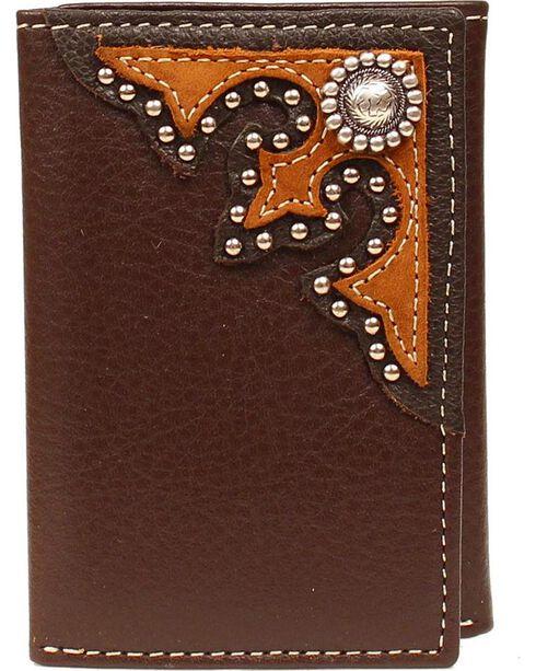Nocona Beaded Concho Tri-fold Wallet, Brown, hi-res