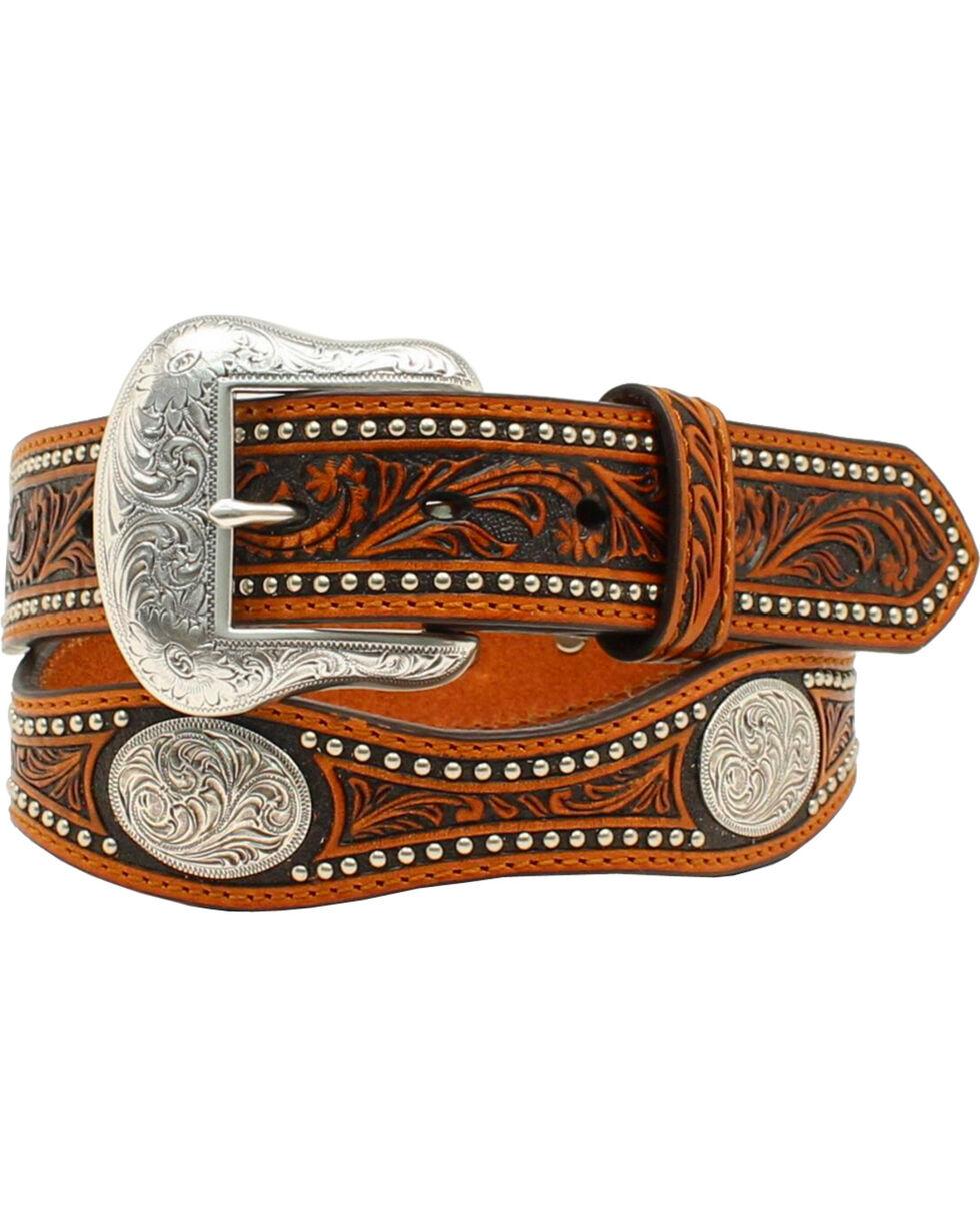 Nocona Scalloped Tooled Concho Belt, Black, hi-res