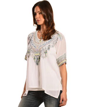 Johnny Was Women's Xander Poncho, White, hi-res