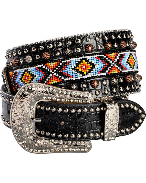 Angel Ranch Women's Beaded Gator Leather Belt, Black, hi-res