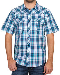 Cody James Men's Blue Plaid Short Sleeve Shirt, , hi-res