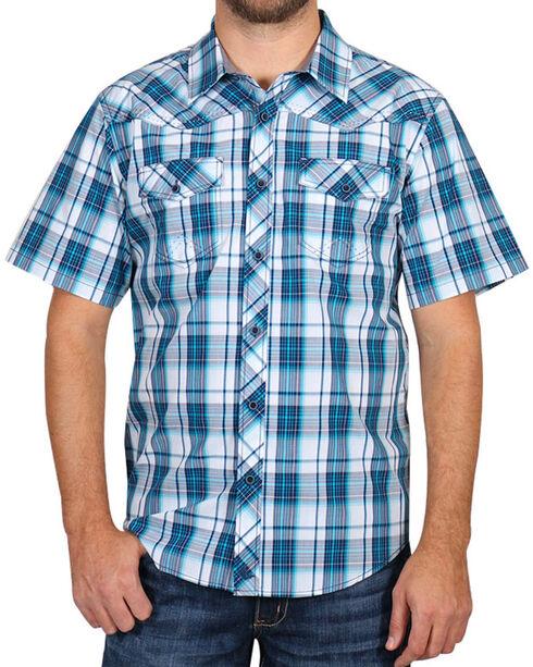 Cody James Men's Blue Plaid Short Sleeve Shirt, Blue, hi-res