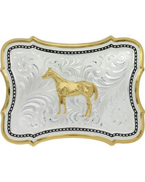 Montana Silversmiths Two-Tone Scalloped Standing Horse Belt Buckle , , hi-res