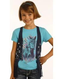 Rock & Roll Cowgirl Girls' Black Fringe Vest , , hi-res