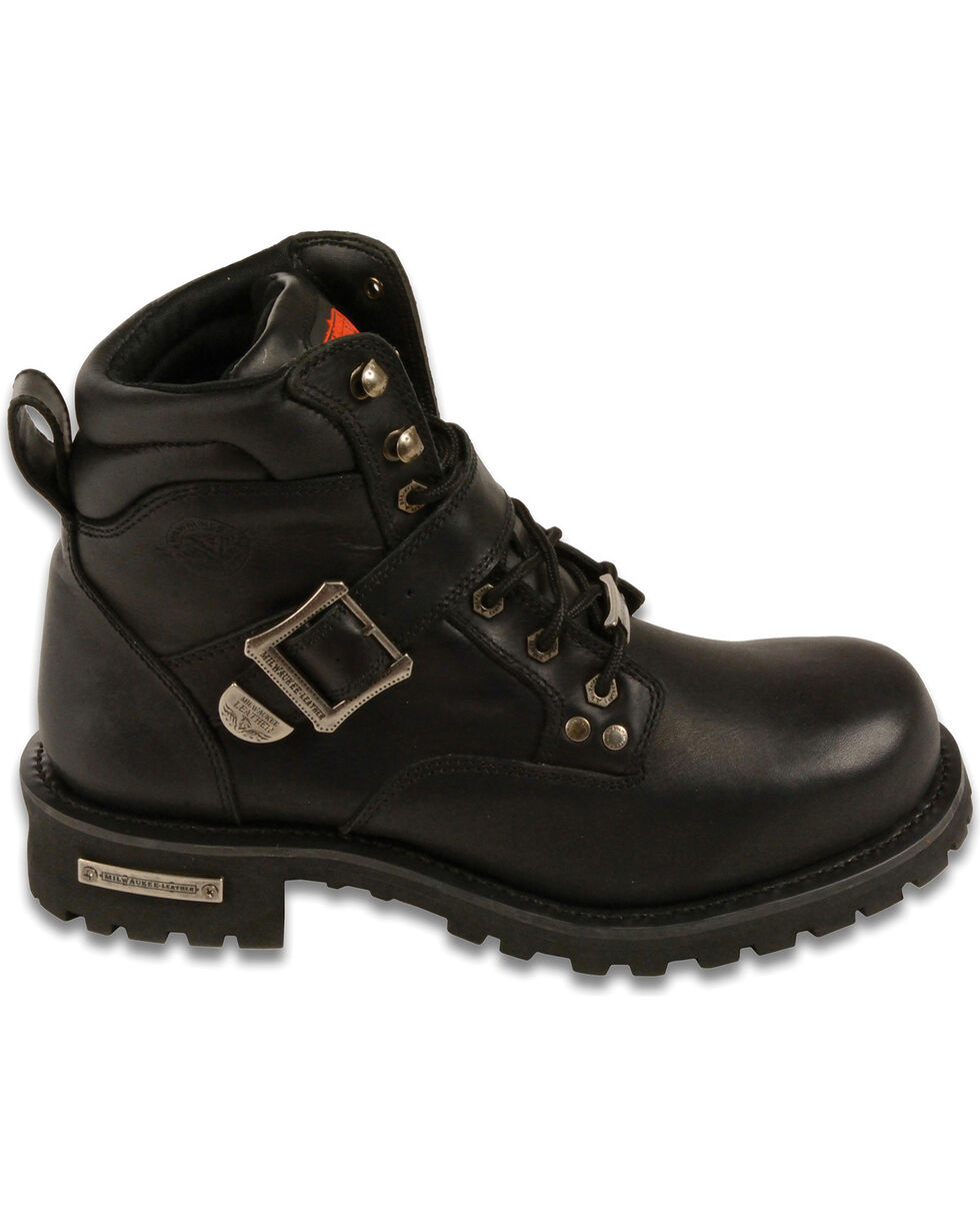 "Milwaukee Leather Men's 6"" Side Buckle Boots - Round Toe, Black, hi-res"