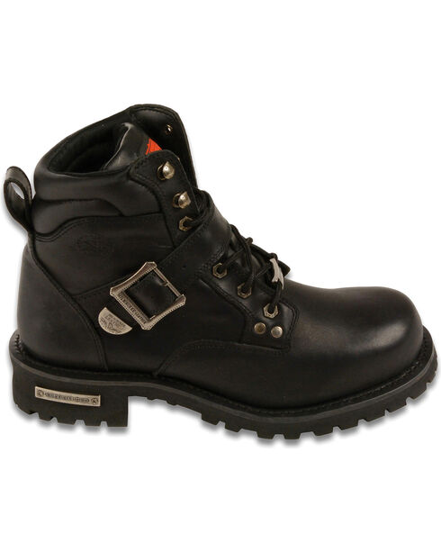 "Milwaukee Leather Men's 6"" Side Buckle Boots - Round Toe - Wide , Black, hi-res"