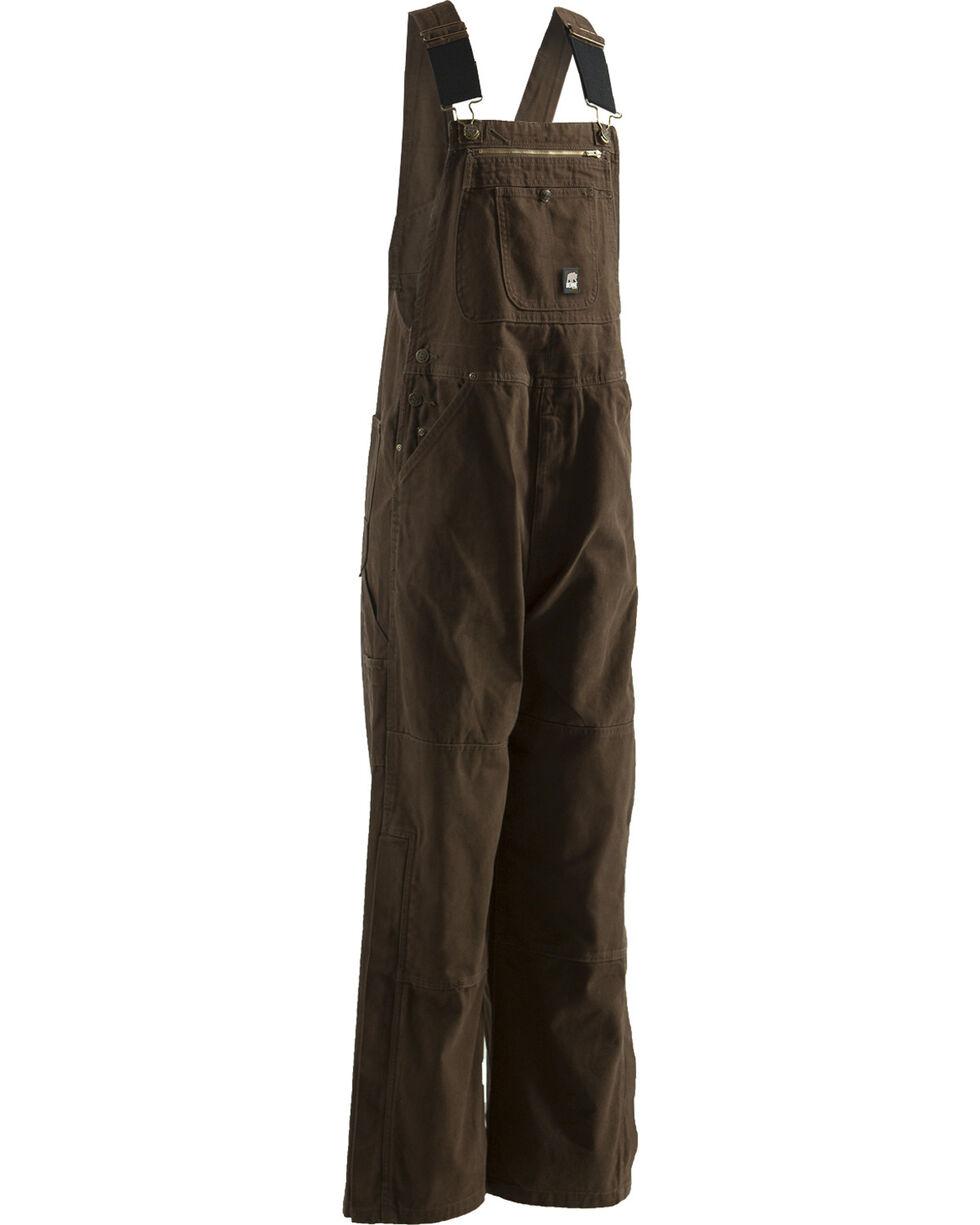 Berne Men's Unlined Washed Duck Bib Overalls, Bark, hi-res
