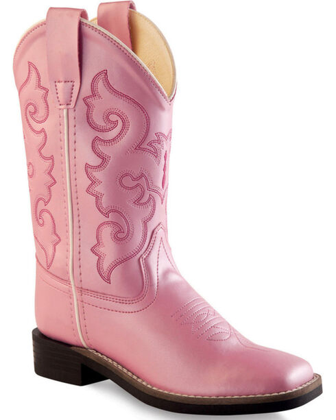 Old West Girls' Pink Western Boots - Square Toe , Pink, hi-res