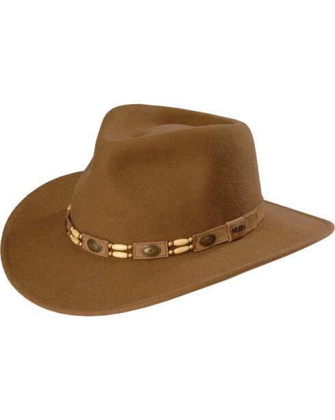 Scala by Dorfman Men's Tracker Wool Outback Hat , Pecan, hi-res