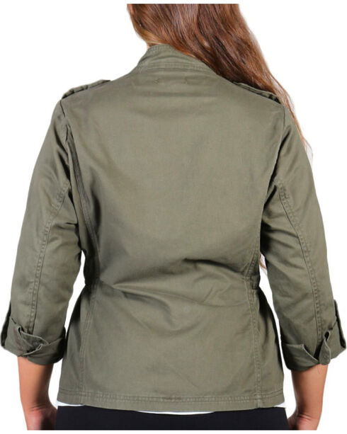 Democracy Women's Snap Front Plus Jacket, Olive, hi-res