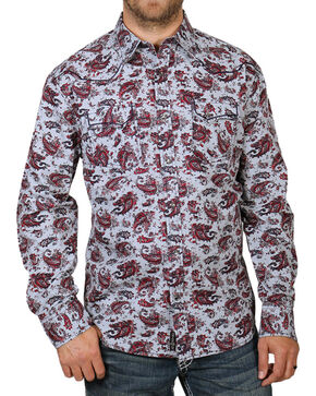 Moonshine Spirit® Men's Paisley Patterned Long Sleeve Shirt, Grey, hi-res