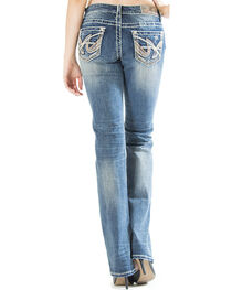 Grace in LA Women's Medium Wash Abstract Easy Fit Bootcut Jeans , , hi-res