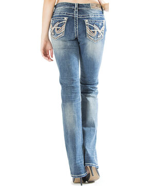 Grace in LA Women's Medium Wash Abstract Easy Fit Bootcut Jeans , Indigo, hi-res