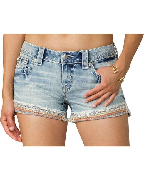 Miss Me Women's Light Indigo Taping on Front Shorts , Indigo, hi-res