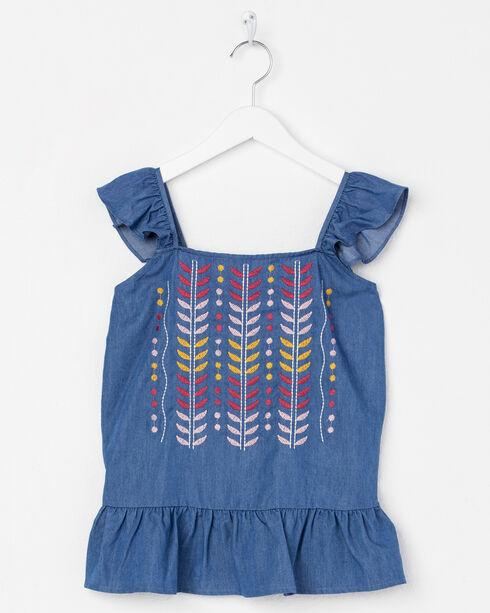 Miss Me Girls' Embroidered Flutter Sleeve Top, Blue, hi-res