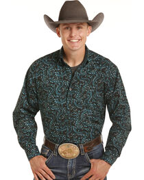 Tuf Cooper Performance by Panhandle Men's Turquoise Paisley Shirt , , hi-res