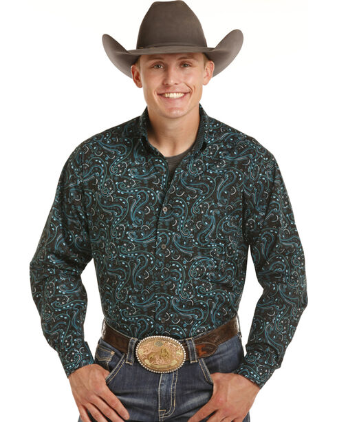 Tuf Cooper Performance by Panhandle Men's Turquoise Paisley Shirt , Turquoise, hi-res