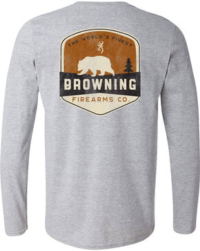 Browning Men's Bear Banner Long Sleeve Tee, Grey, hi-res