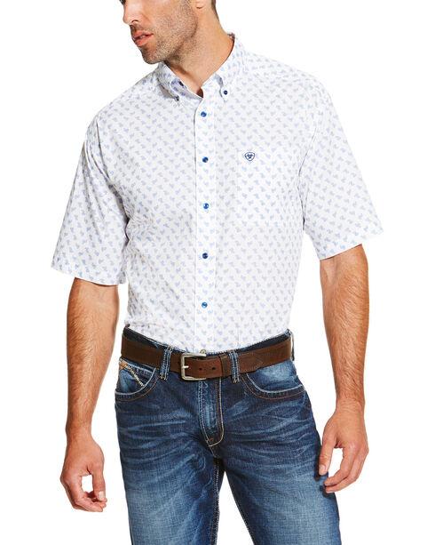 Ariat Men's Patterned Short Sleeve Shirt, White, hi-res