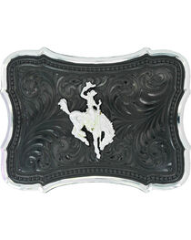 Montana Silversmiths Gunmetal Scalloped Point with Ranch Rodeo Buckle , , hi-res
