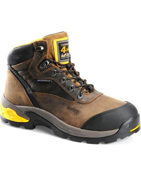 "Carolina Men's 5.5"" WP Aluminum Toe 4x4 Hiker Boots, Black, hi-res"