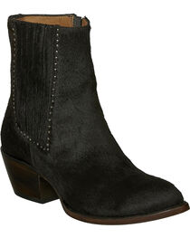 Lucchese Black Hair-On Calf Adele Cowgirl Booties - Pointed Toe , Black, hi-res