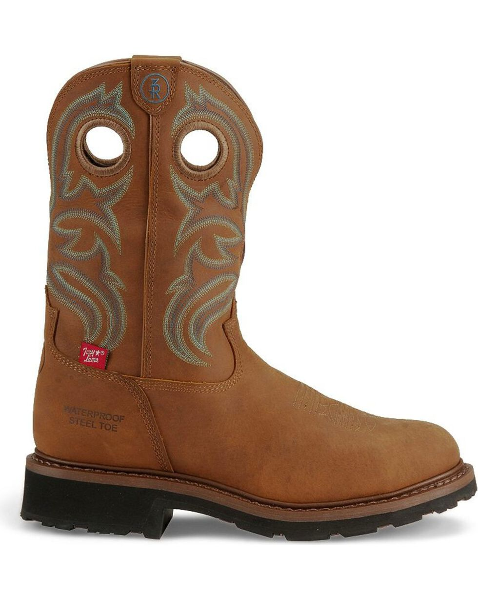 Tony Lama Men's Signature Steel Toe Western Work Boots, Tan, hi-res