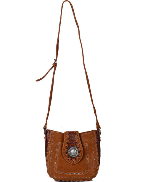 Trinity Ranch Women's Whipstitch Filigree Shoulder Bag, Brown, hi-res