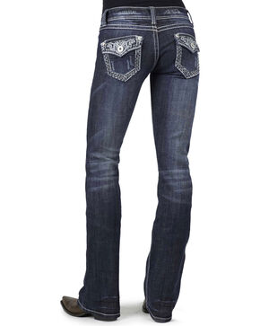 Stetson Women's 818 Fit Contemporary Contrast Stitch Bootcut Jeans, Denim, hi-res
