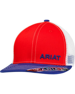Ariat Men's White Mesh Logo Cap, Red, hi-res