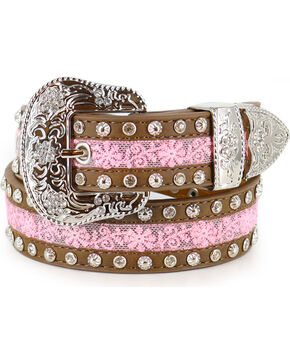 Angel Ranch Girls' Floral Lace Belt , Brown, hi-res