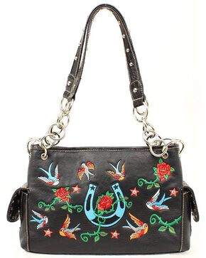 Blazin Roxx Floral Embroidered Satchel Handbag, Black, hi-res