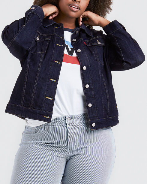Levi's Women's Even Rinse Original Trucker Jacket - Plus Size, Indigo, hi-res