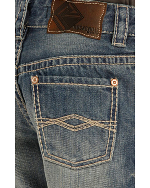 "Rock & Roll Cowboy Boys' Blue ""A"" Embroidery Jeans - Boot Cut, Blue, hi-res"