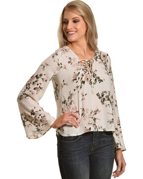 Sage The Label Women's White Floral Lace-Up Blouse , White, hi-res