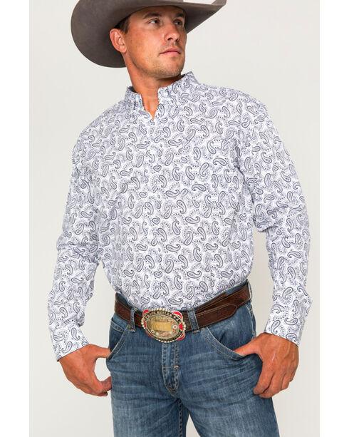 Cody James® Men's Paisley Print Long Sleeve Shirt, White, hi-res