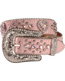 Nocona Girls' Pink Rhinestone Hearts Leather Belt, , hi-res