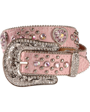 Nocona Girls' Pink Rhinestone Hearts Leather Belt, Pink, hi-res