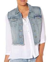 Silver Women's Denim Vest with Fray, , hi-res
