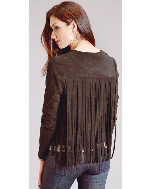 Stetson Women's Faux Suede Jacket with Fringe, Black, hi-res